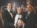 Positive Communities Belfast Aisling winners The Blackie River Group, Jim Girvan and Peter Lynch with Sean Murphy from Ulster Bank
