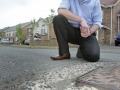 Councillor David Bell assesses the state of the roads, footpaths and grass verges that have been not been properly completed and neglected. 3236mj14