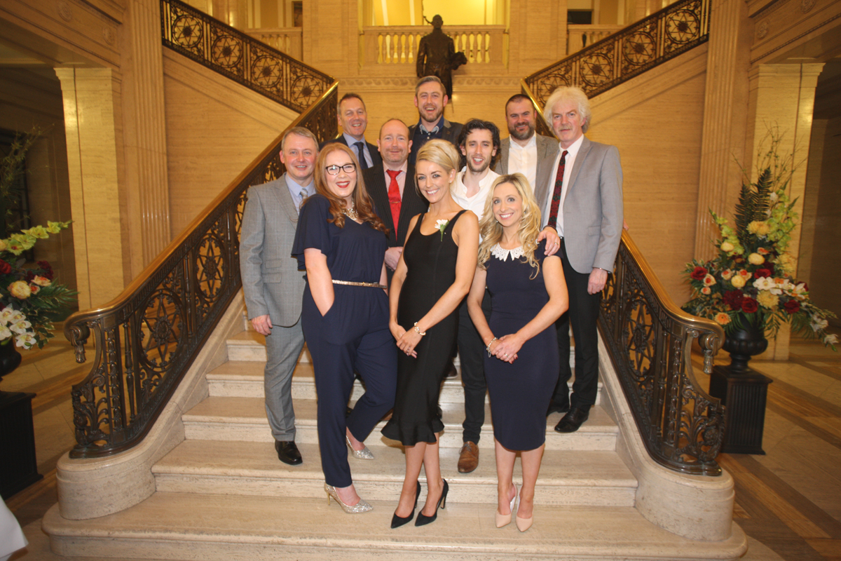 Colette Deery with Staff from Edmund Rice College At the Danske Bank Blackboard Awards in Stormount Parliament Building