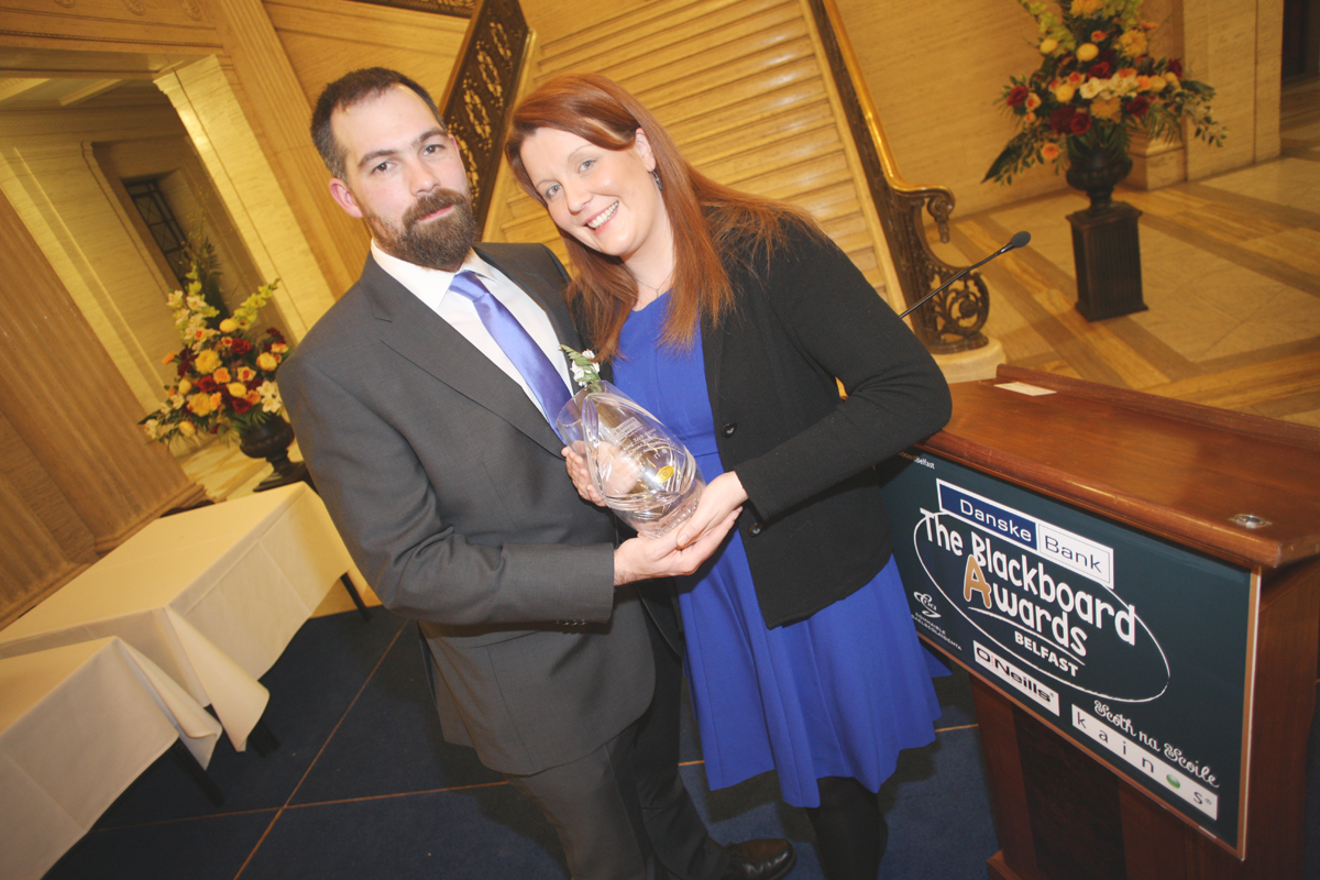 Catherine Riddell with Jonathan Riddell At the Danske Bank Blackboard Awards in Stormount Parliament Building