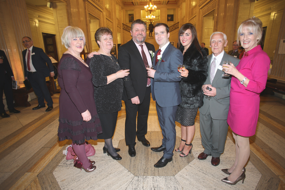 Sheena McKinney, Maura McDonnell, Paul McDonnell, Christopher McDonnell, Catriona Morgan, James McKinney, Carmel McKinney at the Danske Bank Blackboard Awards in Stormount Parliament Building