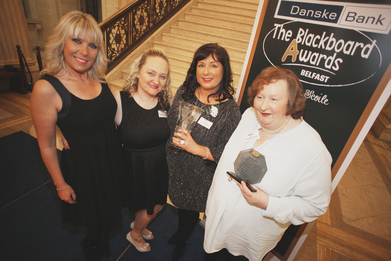 Blackboard awards Belfast 2017 at Stormount, Jean Walker, Heather Brown, Nicila Hitching and Pauline Kinley