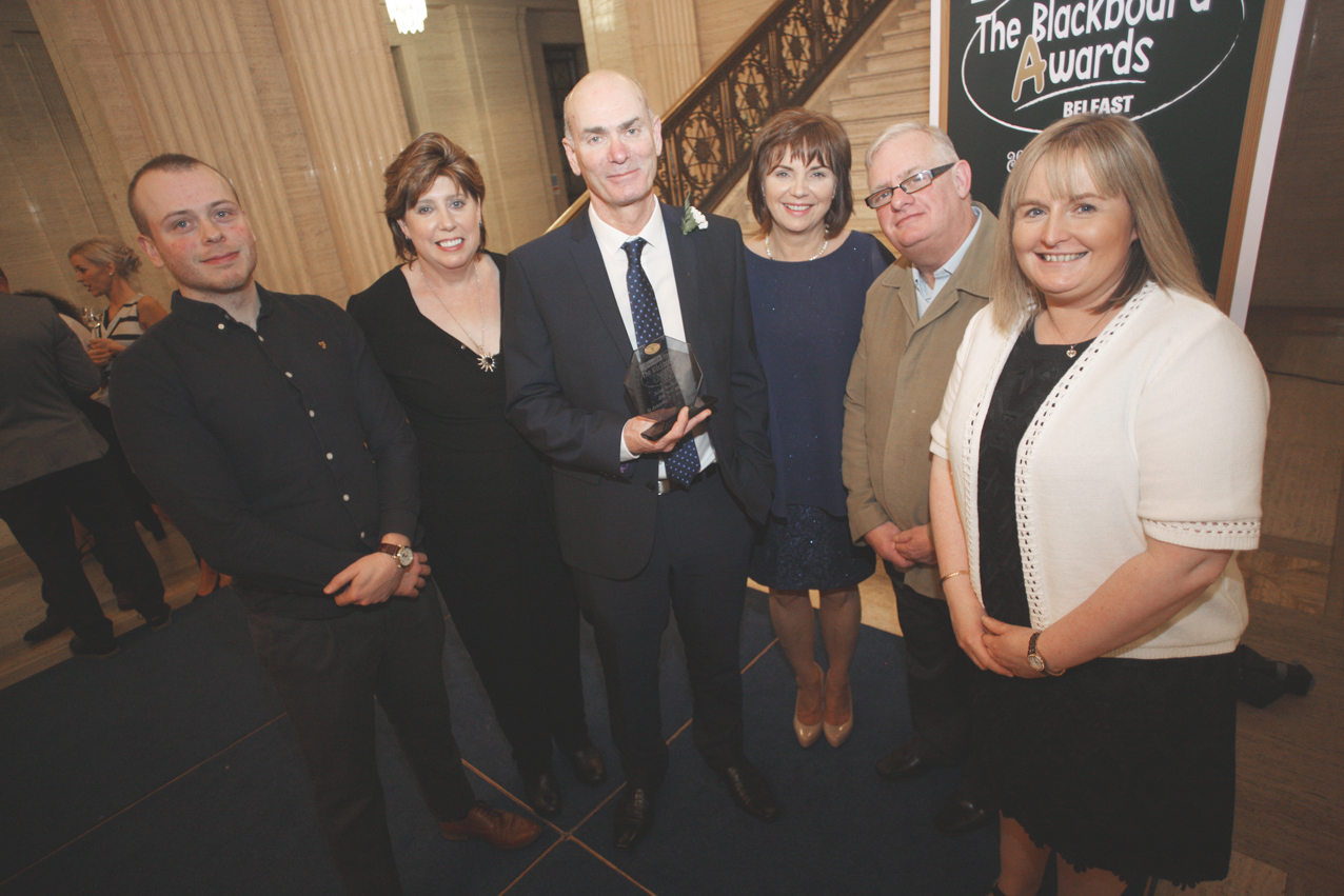 Blackboard awards Belfast 2017 at Stormount, Dominic Fryers, Maiéad Weir, Jim McCann, Marian McCann, Robert Derlin and Colette Barr of st Joseph's PS
