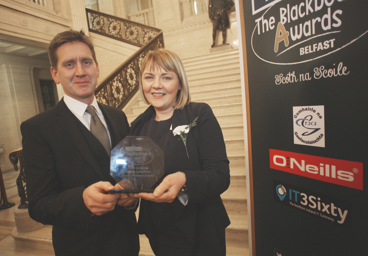 Blackboard awards Belfast 2017 at Stormount, Elaine and Michael Loughran of Mercy PS