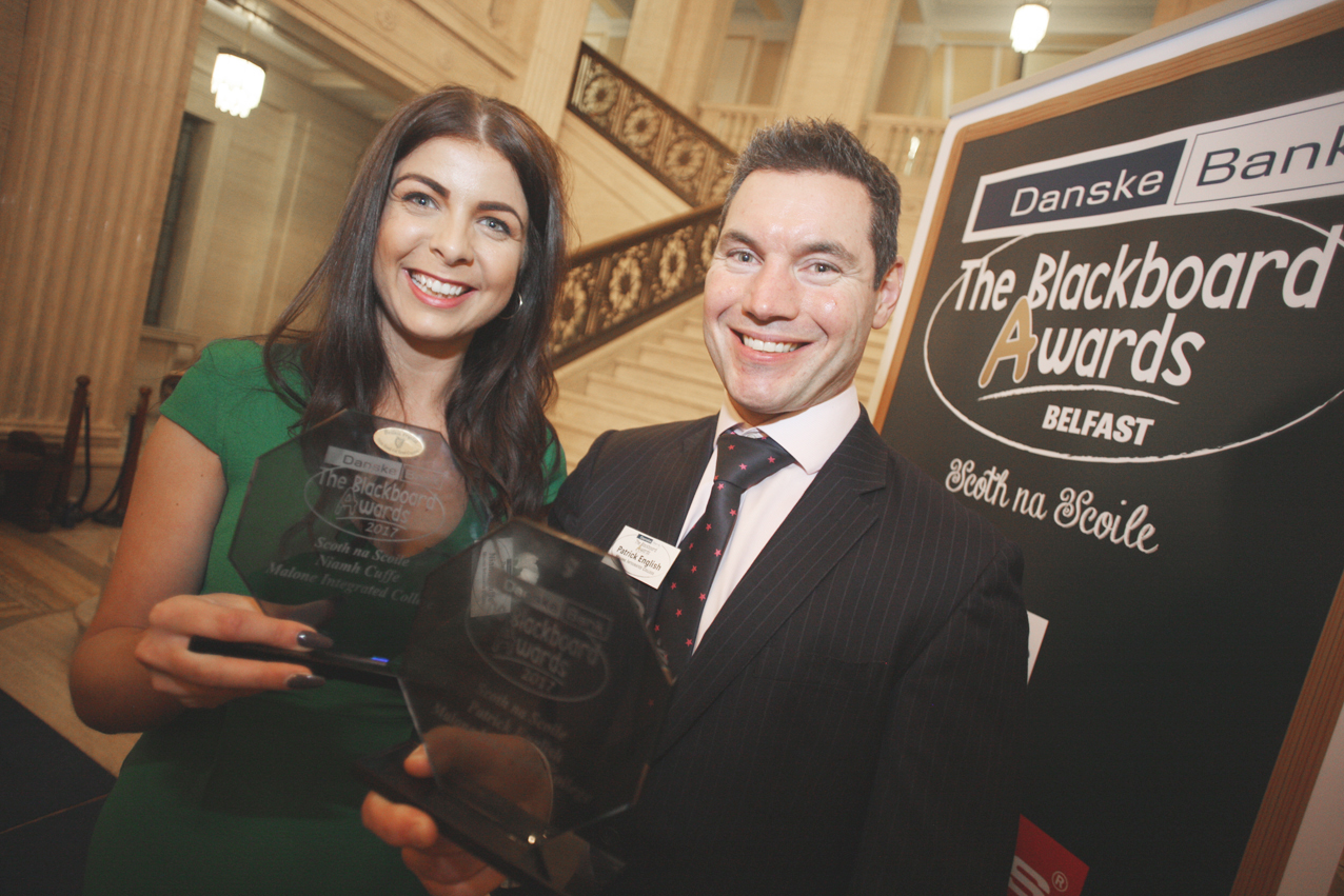Blackboard awards Belfast 2017 at Stormount, Patrick Englis and Niamh Cuffe of Malone Int College