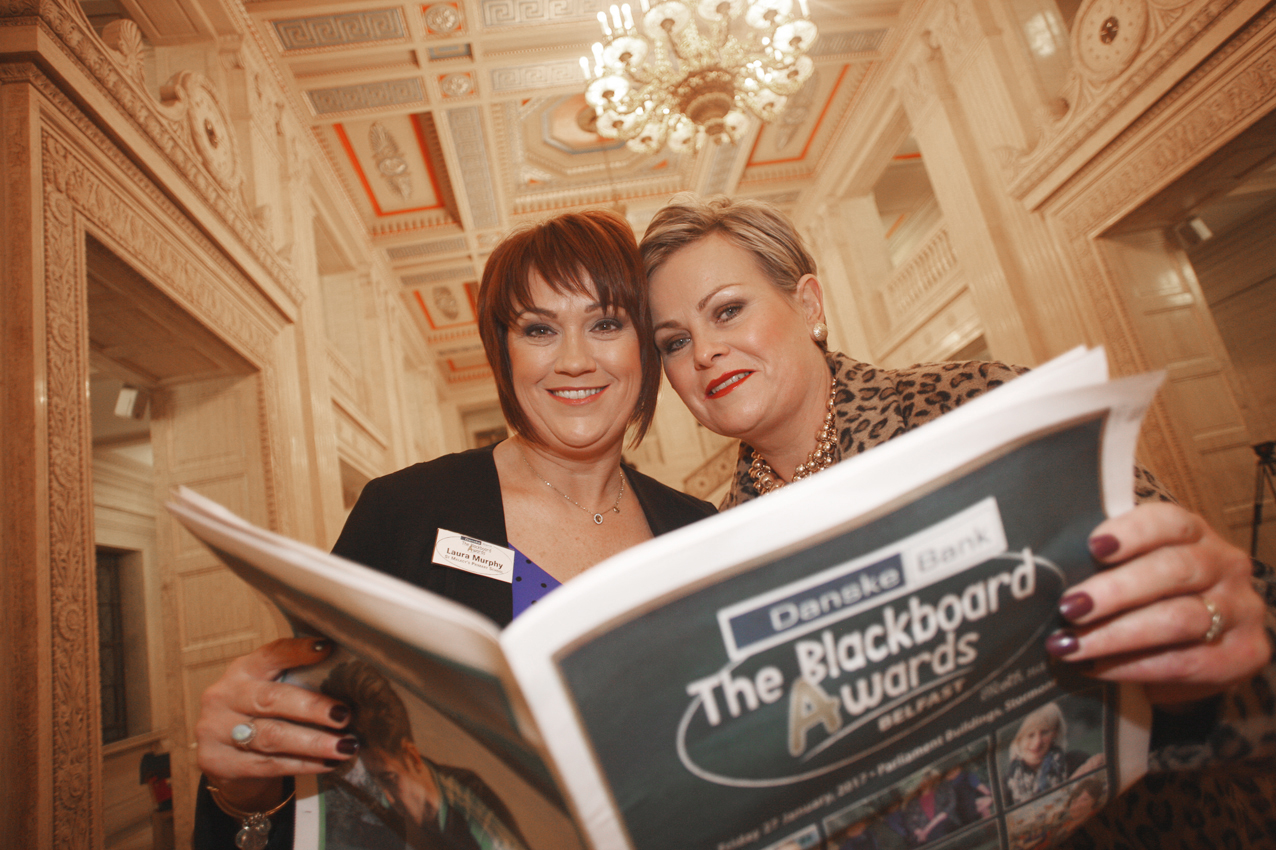 Blackboard awards Belfast 2017 at Stormount, Laura Murphy of St Malachi's PS with Sinead Hughes