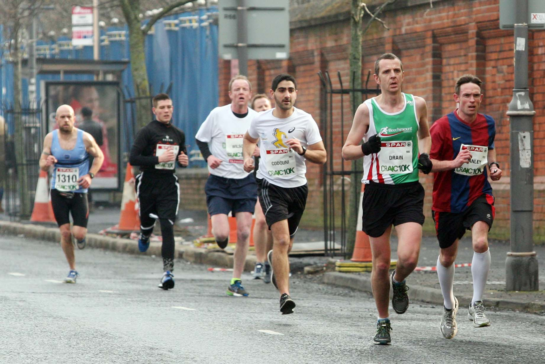 Tuesday 17-3-2015St Patrick's DaySPAR Craic 10k BelfastRace leaders make their way along Belfast's Falls RoadSparCraic10K170315FP002