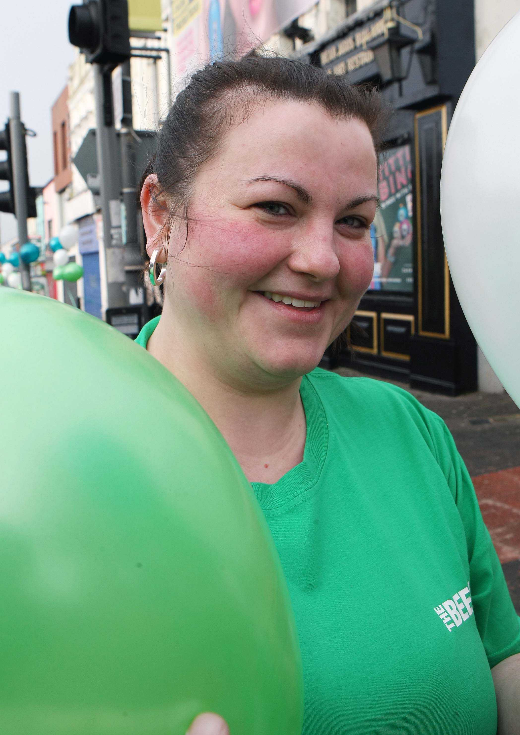 Tuesday 17-3-2015St Patrick's DaySPAR Craic 10k BelfastHelena McDonnell of the Beehive ready to cheer on the runnersSparCraic10K170315FP004