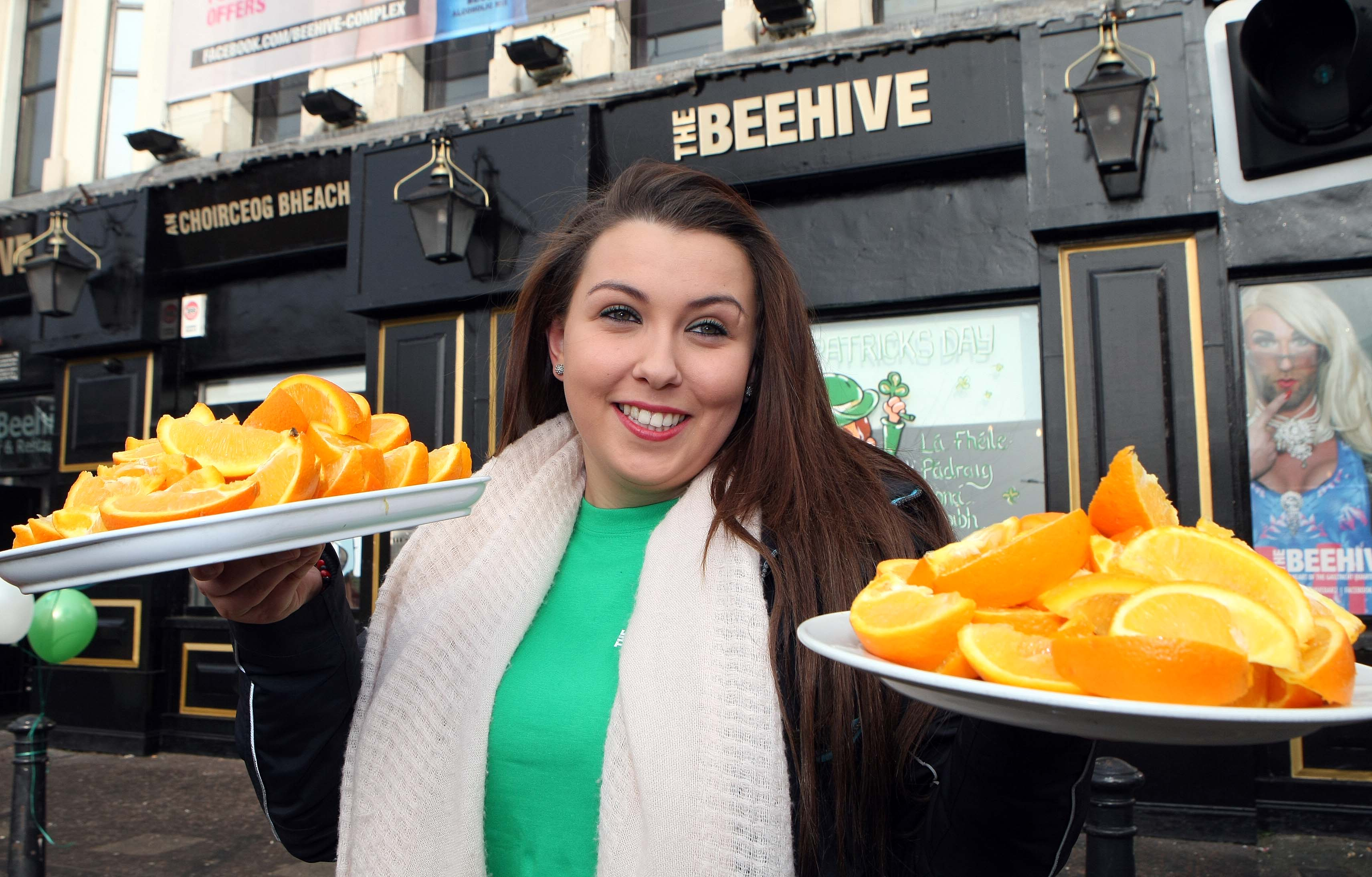 Tuesday 17-3-2015St Patrick's DaySPAR Craic 10k BelfastStephanie Harper of the Beehive has the refreshments readySparCraic10K170315FP005
