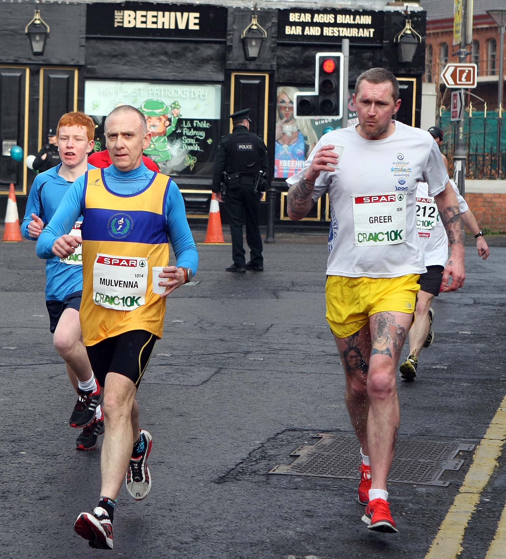 Tuesday 17-3-2015St Patrick's DaySPAR Craic 10k BelfastTaking on water for the rest of the journeySparCraic10K170315FP007
