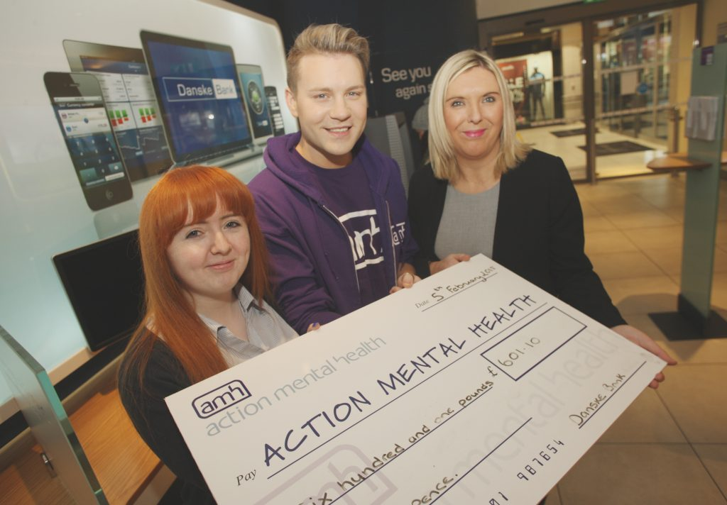 Danske Bank's Aimee Harte and Annehe Huston with Callum Clrak of Action Mental Health